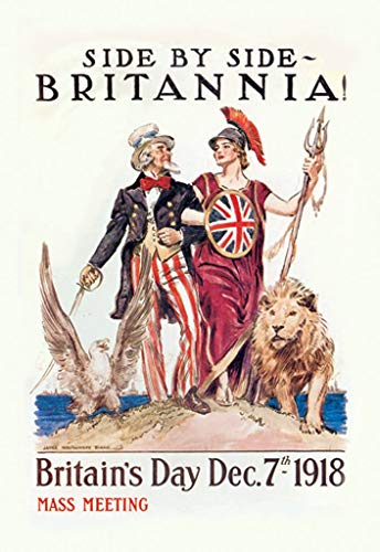 Buyenlarge Side by Side Britannia Britain's Day December 7th 1918 Mass Meeting by James Montgomery Flagg Wall Decal, 48