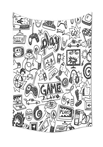 Video Games Wall Tapestry Black and White Sketch Style Gaming Design Racing Monitor Device Gadget Teen 90s Bedroom Living Room Dorm Decor Blak White