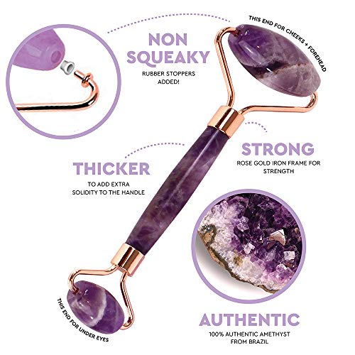 Jade Roller for Face – Amethyst Derma Roller and Gua Sha Set for Skincare, Face Roller and Dark Circles Under Eye…
