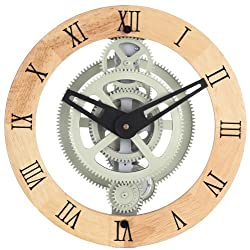 Maple's LCG88W Moving Gear Wall Clock, Wooden Ring Dial