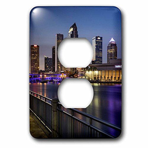 3dRose Danita Delimont - Cities - Twilight over the skyline of Tampa, Florida, USA - Light Switch Covers - 2 plug outlet cover - Florida Outlets Tampa