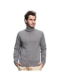 SpringAir Men's 100% Cashmere Sweater Solid Long Sleeve Turtleneck Pullover