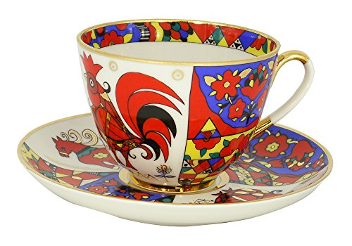 Lomonosov Porcelain Tea Set 2pc Cup and Saucer Spring Folk Designs 7.8 oz/230 ml