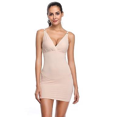 a476f7871b3 Full Slips for Women Under Dresses Shaping Control Slip Body Shaper  Seamless V Neck Sleepwear (