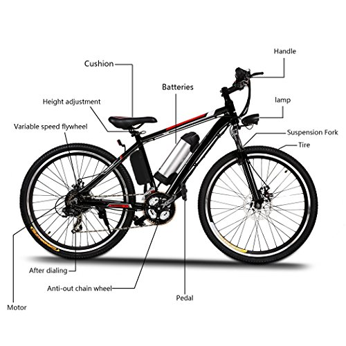 "Electric Mountain Bike, JQstar 25"" Aluminum 21 Speed US Stock Power Plus Ebike with Lithium Ion Battery"