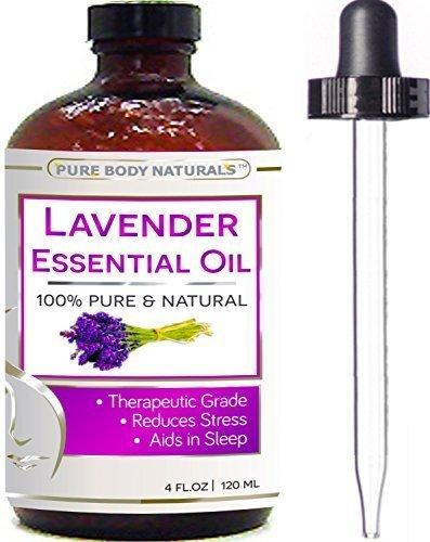 Pure Body Naturals Ätherisches Lavendelöl - große Packung 118 ml - 100% rein und natürlich, zur therapeutischen Behandlung geeignet - Beste Premiumqualität aus Bulgarien - Zur Anwendung für Aromatherapie und Massage