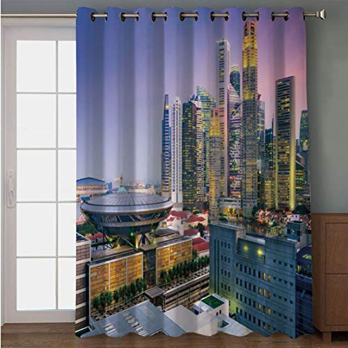 Joy2016 Blackout Curtains for Patio Sliding Door, Extra Wide Draperies for Double Window, Thermal Insulated Energy Efficiency Blackout Curtains for Bedroom Decor, 108 Inch Wide x 90 Inch -