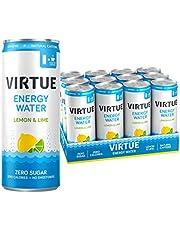 VIRTUE Energy Water - Healthy Energy Drink - Zero Sugar, Zero Calories (Lemon & Lime, 12 pack)