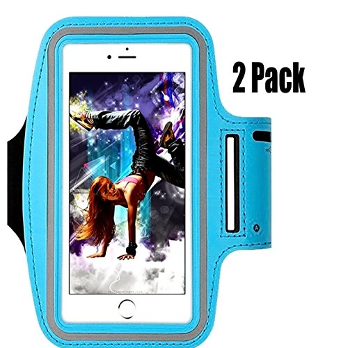 [2pack]Water-resistant Cellphone Armband for iPhone 8/7/6S/6/5S/5C,CaseHQ lightweight holder-Running Sports Armband for iPhone, Samsung, Huawei, Moto, Google and Devices up to 5.2 Inch -Blue (Harley Davidson Panties)
