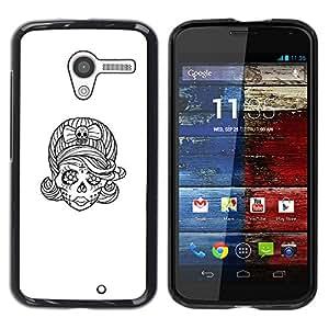 Shell-Star Arte & diseño plástico duro Fundas Cover Cubre Hard Case Cover para MOTO X / XT1058 / XT1053 / XT1052 / XT1056 / XT1060 / XT1055 ( Skull Bride Sketch Biker Ink Tattoo )