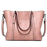 Women Bag Casual Vintage Shoulder Bag Handbags Cross Body Bag Large Capacity Bags Pink JUNDUN