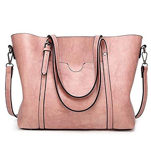 Women Bag Casual Vintage Shoulder Bag Handbags Cross Body Bag Large Capacity Bags Pink JUNDUN