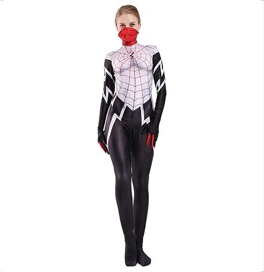 nihiug Spiderman Mujer Verde Rojo Negro Araña Anime Disfraz Fiesta ...