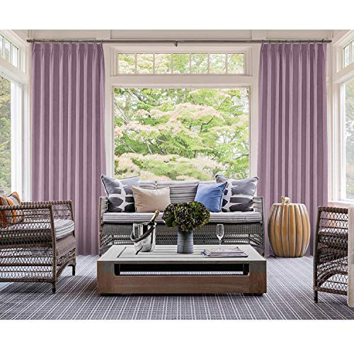 cololeaf Pinch Pleated Curtain Blackout Lined Drapery Panel Noise Reducing for Traverse Rod or Track, Living Room Bedroom Meetingroom Club Theater Patio Door,Lavender 120W x 96L Inch (1 Panel) ()