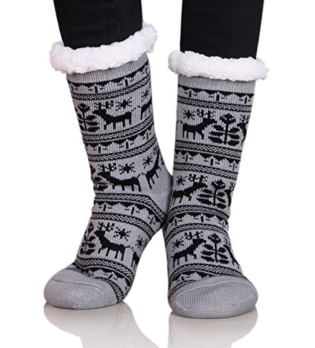 Dosoni Women Girls Winter Fleece Lining Snowflake Deer Christmas Gift Slipper Socks Collection (Dear Gray) - European Kids Socks