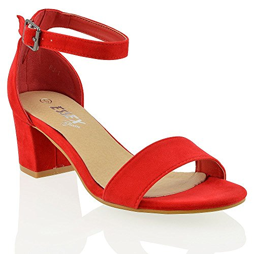 Rosso Essex Sandalo Caviglia Cinturino Scamosciata Glam basso Sintetico Ecopelle Donna Tacco Con Medio Alla wPwqr