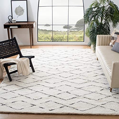 Safavieh Casablanca Shag Collection CSB847A Handmade Ivory and Brown Premium Wool Cotton Area Rug 9' x 12'