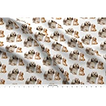 Havanese Fabric Havanese Mom And Pup by Pateisen Printed on Satin Fabric by the Yard by Spoonflower
