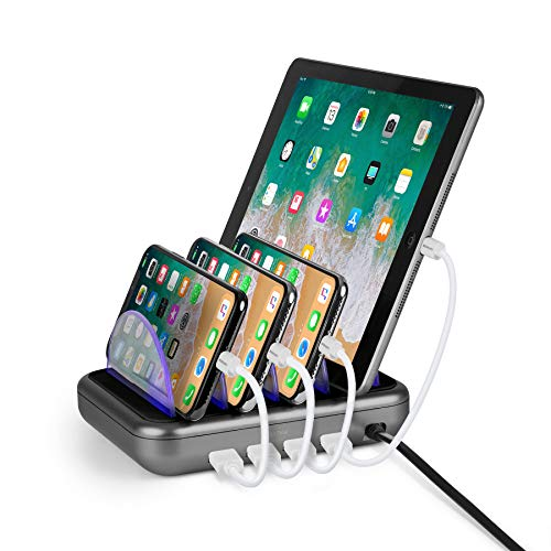 Merkury Innovations 4.8 Amp 4-Port USB Charging Station Fast Charge Docking Station for Multiple Devices - Multi Device Charger Organizer - Compatible with Apple iPad iPhone and Android (Black/Grey)