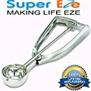 The Best Cookie Dough Scoop by SuperEze - FREE Cookie Recipes - Top Stainless Steel Ice Cream Disher Scoops - Size 24 Medium Ice-Cream Scooper. Lovely Gift Idea. With No Springs Triggers or Levers