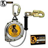 KwikSafety (Charlotte, NC) 20' COBRA Self Retracting Lifeline   Cable   ANSI Class B SRL w/Steel Carabiner Locking Clip Snap Hook   Roofing Construction Personal Fall Arrest Protection Safety Yoyo