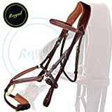 Runners Fully Adjustable Fancy Mexican Bridle with Stylish Broad Head Pics. & PP Rubber Grip Reins./ Buffalo Leather./ Stainless Steel Buckles.