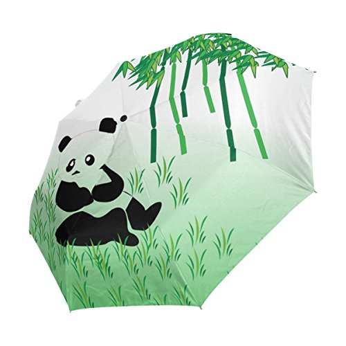 Amazon.com : imobaby Inside Black Umbrella Panda Bamboo UV Anti Lightweight Parasol Elegant Reverse 3 folding Drop Sturdy Umbrella Special Gifts for ...