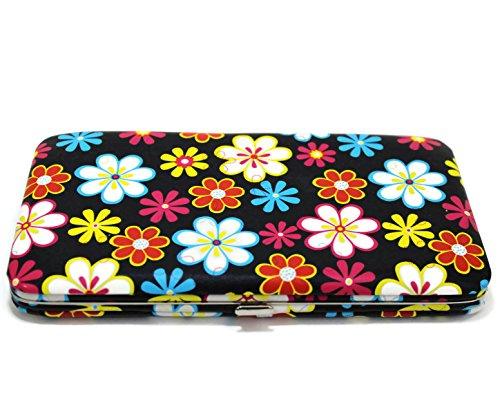 WOMEN FLAT WALLET CLUTCH BY DESIGNSK (Flowers Black) - Flat Opera Wallet