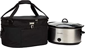 HOMEST Slow Cooker Travel Bag with Easy to Clean Lining, Insulated Carrier with Zippered Accessory Pocket, Carry Case Compatible with Crock Pot 6-8 Quart (Fit for 6-8 QT Crockpot Slow Cooker, Black) (Patent Pending)