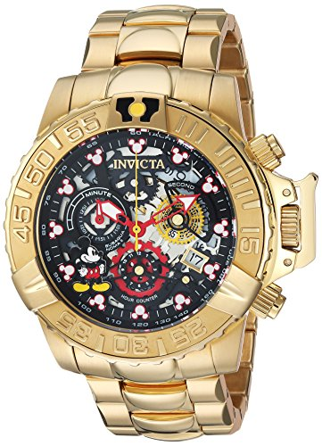 Invicta Men's Disney Limited Edition Analog-Quartz Watch with Stainless Steel Strap, Gold, 24 (Model: 24504) - Mickey Mouse Watch Mint