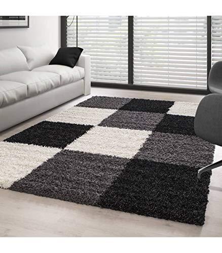 Hochflor Langflor Wohnzimmer Shaggy Teppich Florhöhe 3cm Mehrfarbig kariert - Schwarz-Weiss-Grau, 200x290 cm