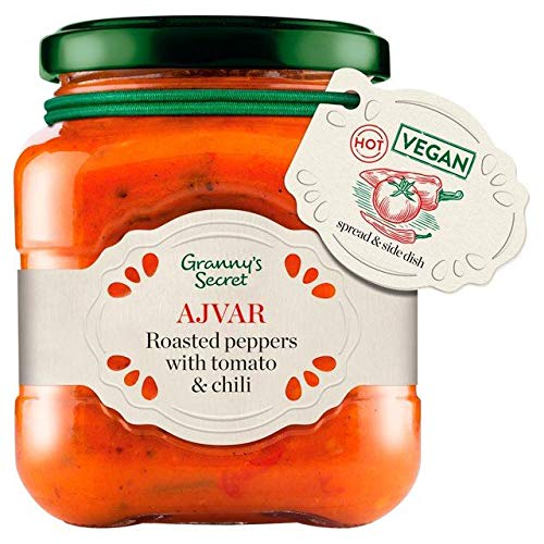 (Granny's Secret Ajvar Hot Roasted Red Pepper with Tomato and Spices - 200g (0.44 lbs))