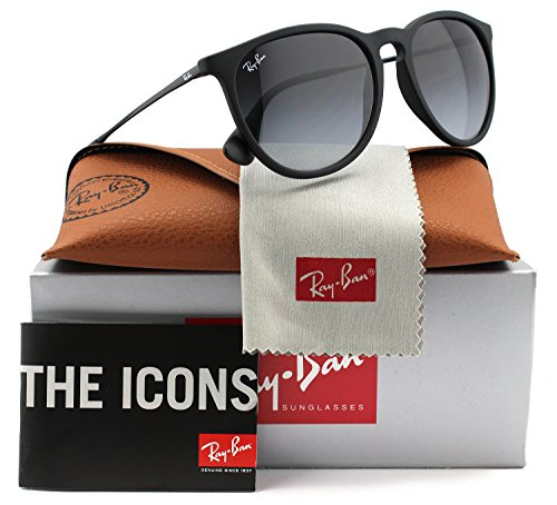 Ray-Ban RB4171 Erika Sunglasses Matte Black w/Grey Gradient (622/8G) 4171 6228G 54mm - Black Ban Erika Ray