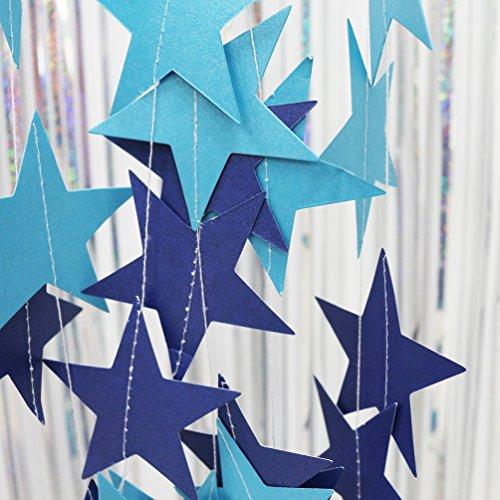 AZOWA 2 Pcs Blue Glitter Star Paper Garlands