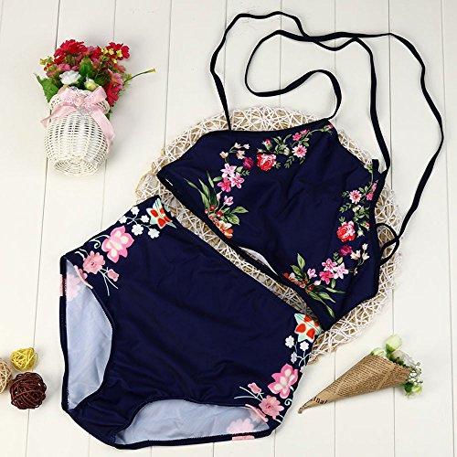 Covermason Mujer Banda Push-up Acolchado Bra Bikini Geométrico Impresión Traje de baño (1 Conjunto) Azul