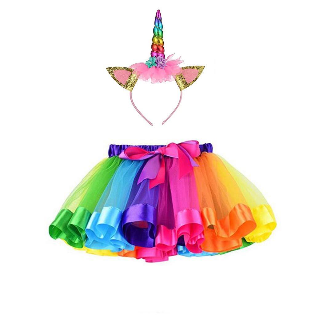 Azornic Girls Rainbow Tutu Skirt Unicorn Horn Headband Outfits Birthday