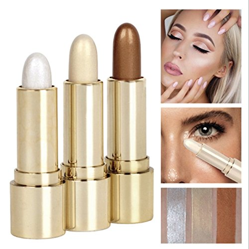 (Cosmetic 3 Colors Set Long-Lasting Makeup Eyeshadow Highlighter Glow Brightener Shimmer-Silver, Rose, Golden Color Highlighter)