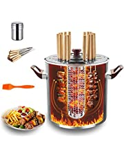 Vertical Rotisserie Oven, 2-in-1 Smokeless Electric Burners Charbroiler Barbecue Grill, with 20 Pcs Grill Sign, 1 Pcs Spice Box, 1 Pcs Grill Brush
