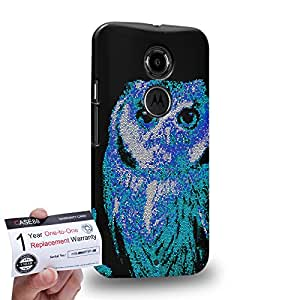Case88 [Motorola Moto X (2nd Gen)] 3D impresa Carcasa/Funda dura para & Tarjeta de garantía - Art Aztec Design Blue Owl Animal Faces