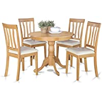 East West Furniture ANTI5-OAK-LC 5-Piece Kitchen Table Set, Oak Finish