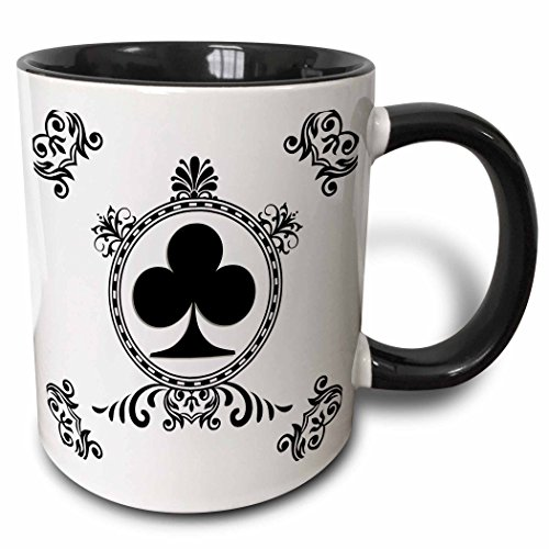 3D Rose 218674_4 Ace of Clubs Playing Cards Poker White and Black Popular Image Two Tone Ceramic Mug