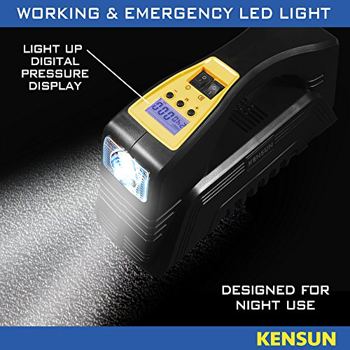 Kensun AC/DC Rapid Performance Portable Air Compressor Tire Inflator with Digital Display for Home (110V) and Car (12V) - 30 Litres/Min by Kensun (Image #5)