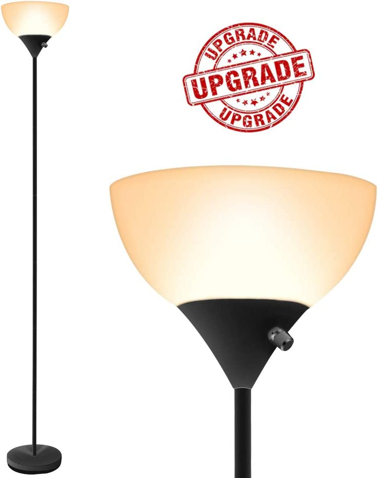 LED Floor Lamp – Standing Lamp, 9W Energy Saving, 70inch Torchiere Floor Lamp, 40000h Long Lifespan, 3000K Warm White, Eye-Caring, Floor Lamps for Bedrooms, Living Room, Office, Reading, Upgraded Tube