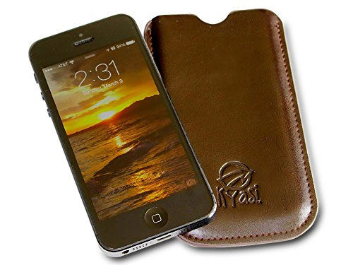 Kyasi Authentic TouchHide Tote Outside Stitched Sleeve Pouch Style Case Cover for Apple iPhone 5, iPhone 5S and iPhone 5C, Saddleback Brown