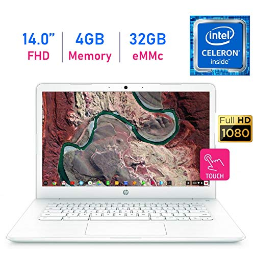 HP Chromebook 14-inch Touchscreen (1920x1080) FHD IPS WLED-Backlit Display Laptop PC, Intel Dual Core Celeron N3350 up to 2.4GHz, 4GB LPDDR4 RAM, 32GB eMMC, B&O Play, Webcam, Bluetooth, Chrome OS (Best Bargain Laptops 2019)