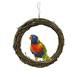 Smdoxi Bird Parrot Rattan Swing Toy Bird Hammock Hanging Bed Pet Dog Cat Bed Hammock Style Parrot Bed Playground Trampoline Swing Nest (Bbrown, M)