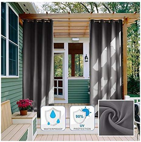 GDMING 屋外シアーカーテンアウトドアカーテン パティオ用 ヘビーデューティー ウェーブグロメット 防水 停電 熱の ドレープ 装飾 ために ポーチ バルコニー キャノピー フェンス プライバシー ポリエステル 、32サイズ (Color : Gray, Size : 3x3m)