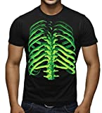 Glowing Halloween Skeleton Bones Men's T-Shirt X-Large Black