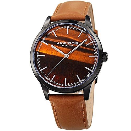 Akribos XXIV Men's Black Case with Tiger Eye Dial on a Cognac Brown Genuine Leather Strap Watch - Watch Eye Dial