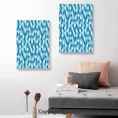 "SfeatruRWF 2 Panel Canvas Wall Art,Harlequin Winter Theme Pattern Elongated Squares Aquatic Colors Antique Italian Decorative,24""x36""x2 Panels,for Home Decor,Multicolor"